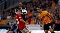 Winger MU, Daniel James (kiri) saat melawan Wolverhampton. (AP Photo/Rui Vieira)