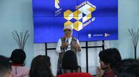Kepala Badan Perencanaan dan Pengembangan (Barenbang) Kemnaker, Tri Retno Isnaningsih saat membuka Inkubasi Bisnis Talent Cube Batch-2 di Innovation Room Kemnaker, Jakarta.
