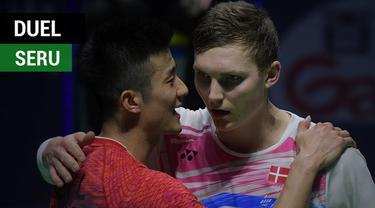 Berita video momen duel seru pada final tunggal putra China Terbuka 2017 antara Chen Long dengan Viktor Axelsen, Minggu (19/11/2017).