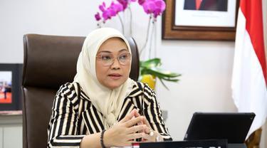 Menaker Ida saat menerima audiensi pengurus GAPKI secara virtual, Selasa (15/6/2021).