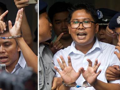 Dalam gambar kombinasi yang dibuat dari dua foto, wartawan Reuters Kyaw Soe Oo (kiri) dan Wa Lone diborgol saat mereka dikawal oleh polisi di luar pengadilan di Yangon, Myanmar Senin (3/9). Mereka berdua dijatuhi hukuman 7 tahun penjara. (AP/Thein Zaw)