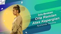 Duka mendalam Olla Ramlan atas kepergian ayahanda tercinta. (Foto: Adrian Putra/Bintang.com Desain: Nurman Abdul Hakim/Bintang.com)