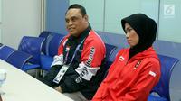 CDM Asian Games 2018, Komjen Pol Syafruddin bersama Penyumbang Emas Pertama Indonesia Asian Games 2018, Atlet Taekwondo Defia Rosmaniar berbincang dengan Tim Redaksi SCTV, Jakarta, Senin (20/8). (Liputan6.com/Johan Tallo)