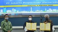 Penandatanganan kerja sama penyediaan energi gas bumi dan utilitas lainnya antara PGN dengan Jakarta Propertindo, Kamis, 5 Agustus 2021. (Dok: Istimewa)