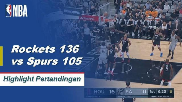Clint Capela mencetak 27 poin dan 12 rebound Rockets menang atas Spurs 136-105