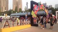 Zona Atung, sebuah zona rekreasi selama Asian Games yang terletak di area Parkir Timur Senayan, Kompleks GBK Jakarta. (Bola.com/Benediktus Gerendo Pradigdo)