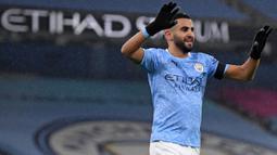Riyad Mahrez adalah salah satu pemain kunci Manchester City dalam meraih gelar Liga Inggris musim lalu. Pemain berkebangsaan Ajazair ini juga berjasa bawa The Citizen ke partai puncak Liga Champions walapun harus ditundukkan Chelsea. (Foto: AFP/Pool/Michael Regan)