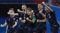 Timnas Kroasia menang 4-3 melalui adu penalti atas Rusia dalam perempat final Piala Dunia 2018, di Stadion Olimpiade Fisht, Sabtu (7/7/2018) atau Minggu dini hari WIB. (AP/Manu Fernandez)