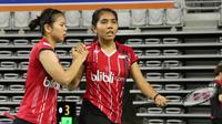 Ganda putri Indonesia Greysia Polii/Nitya Krishinda Maheswari lolos ke semifinal Korea Open Super Series 2015, Jumat (18/9/2015). (Liputan6.com/Humas PP PBSI)