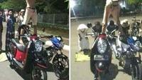 Salah satu remaja sengaja berdiri di atas dua motor dengan bertelanjang dada saat mempraktikkan salah satu gerakan salat. (Liputan6.com/Fajar Eko Nugroho)