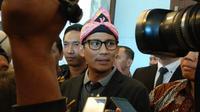 Sandiaga Uno usai menghadiri peresmian sebuah restoran di Kota Bogor, Jawa Barat, Senin (3/9/2018) (Ahmad Sudarno)
