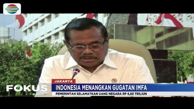 Indonesia menang terhadap gugatan Indian Metal Ferro and Alloy Limited tentang kasus tumpang tindih perizinan lahan untuk mengeksplorasi tambang.
