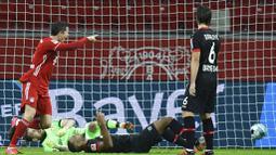 Striker Bayern Munchen, Robert Lewandowski, mencetak gol ke gawang Bayer Leverkusen pada laga Bundesliga di Stadion BayArena, Minggu (20/12/2020). Bayern Munchen menang dengan skor 2-1. (Bernd Thissen/Pool Photo via AP)