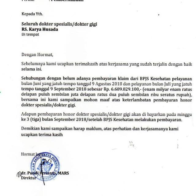 Viral Surat Direktur Rumah Sakit Ke Jokowi Tentang Belum