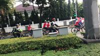 Kampanye keselamatan untuk mudik lebaran tahun 2018 dengan touring sepeda. (Liputan6.com/Yunizafira)