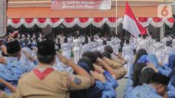 Peringatan Sumpah Pemuda: Peserta mengikuti upacara peringatan Hari Sumpah Pemuda di Museum Sumpah Pemuda, Jakarta, 28 Oktober 2019. Upacara yang diikuti sejumlah pelajar ini diselenggarakan dalam rangka memperingati Hari Sumpah Pemuda ke-91. (Liputan6.com/Faizal Fanani)