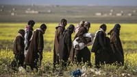 Ratusan warga sipil dan terduga militan dievakuasi dari Baghuz, Suriah. (AFP)