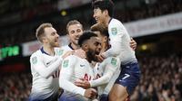 Tottenham Hotspur mengalahkan Arsenal 2-0 pada perempat final Piala Liga Inggris, di Stadion Emirates, Kamis (20/12/2018) dini hari WIB. (AP Photo/Frank Augstein)