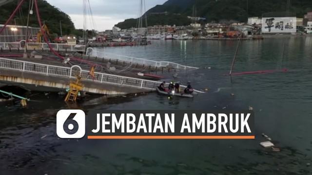 Sebuah jembatan ambruk di Taiwan pada Selasa (1/10/2019) waktu setempat. Setidaknya 12 orang terluka, termasuk 6 orang Filipina dan 3 orang Indonesia yang bekerja sebagai nelayan.