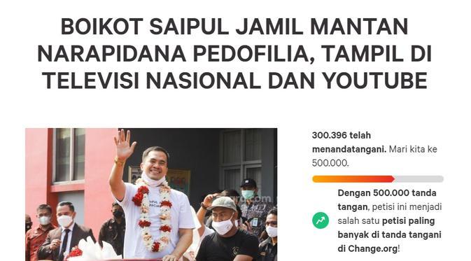 Petisi Boikot Saipul Jamil Sudah Tembus 300 Ribu Tanda Tangan - ShowBiz  Liputan6.com
