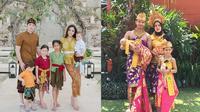 Potret Keluarga Seleb saat Pakai Baju Tradisional Bali. (Sumber: Instagram.com/celine_evangelista dan Instagram.com/fairuzarafiq)