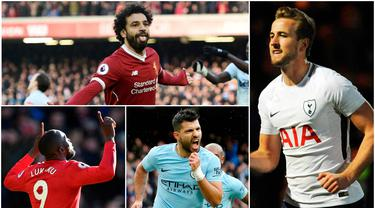Berikut ini top scorer sementara Premier League musim 2017/2018 hingga pekan ke-28. Harry Kane masih teratas dengan torehan 24 gol. (Kolase foto-foto AP dan AFP)