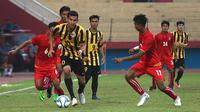 Timnas Malaysia U-19 akan menantang Timnas Indonesia U-19 di semifinal Piala AFF U-19. (Bola.com/Aditya Wany)