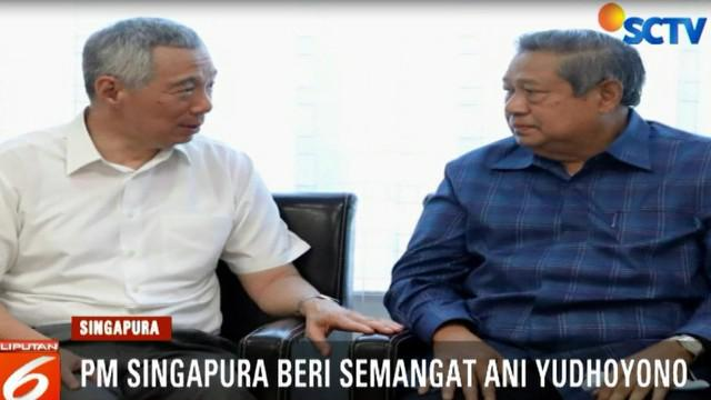Perdana Menteri Singapura langsung menyapa Ani Yudhoyono dengan memberi semangat dan mendoakan agar lekas sembuh.