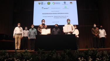 PT Aneka Tambang (Antam) menandatangani Perjanjian Pendahuluan Pengembangan Bisnis Pemurnian Nikel bersama Alchemist Metal Industry Pte Ltd dan PT Gunbuster Nickel Industry.