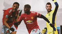 Anthony Martial, Paul Pogba dan David De Gea. (Bola.com/Dody Iryawan)