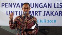 Gubernur DKI Jakarta, Anies Baswedan memberikan sambutan pada peresmian Gardu Distribusi Listrik (Receiving Substation/RSS) bawah tanah MRT Jakarta di Taman Sambas, Jakarta, Jumat (13/7). (Liputan6.com/Johan Tallo)