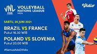Jadwal dan Live Streaming Men's VNL 2021 Semifinal di Vidio, Sabtu 26 Juni. (Sumber : dok. vidio.com)