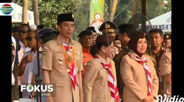 Jokowi yang bertindak selaku inspektur upacara menyampaikan, pramuka berperan membentuk pemuda yang cinta tanah air dan mempertahankan NKRI.