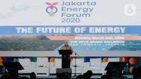 Ketua Umum HIPMI Jaya Afifuddin Suhaeli Kalla memberikan sambutan dalam pembukaan Jakarta Energy Forum 2020 di Jakarta, Senin (2/3/2020). Pengembangan kolaborasi berkelanjutan tersebut dalam rangka meningkatkan sinergi dengan para stakeholders di sektor energi Indonesia. (Liputan6.com/Faizal Fanani)
