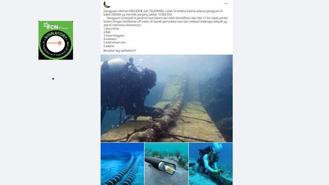Cek Fakta Liputan6.com menelusuri klaim foto gangguan kabel internet bawah laut IndiHome