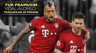 Video 2 gelandang Bayern Munchen Arturo Vidal dan Xabi Alonso bertanding lawan 40 anak kecil saat tur pramusim Bayern Munchen ke Amerika Serikat.