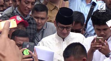 Pada kunjungannya ke Sukabumi, Sandiaga Uno berjanji jika terpilih nanti ia akan banyak membuka lowongan kerja.