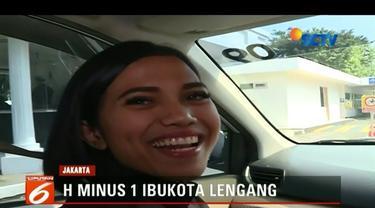 H-1 Lebaran, arus lalu lintas di Ibu Kota Jakarta terpantau lengang.