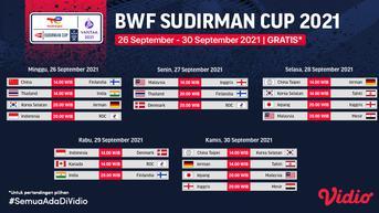Baru Main di Vidio, Live Streaming Sudirman Cup 2021 : Malaysia vs Inggris, China vs India dan Thailand vs Finlandia