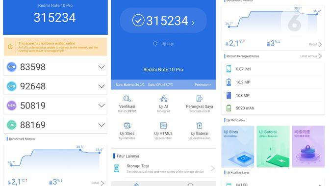 Benchmark Redmi Note 10 Pro dengan AnTuTu Benchmark (Liputan6.com/ Agustin Setyo W).