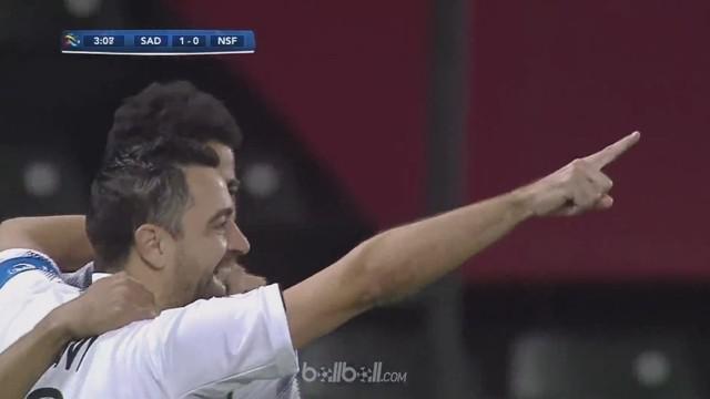 Pemain legendaris Barcelona Xavi Hernandez mencetak gol untuk membantu Al Sadd menundukkan Nasaf Qarshi 4-0 dalam lanjutan Liga Ch...