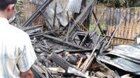 Rumah nenek Sidem di Sumbang, Banyumas, ludes terbakar dengan segala isinya. (Liputan6.com/Tagana BMS/Muhamad Ridlo)