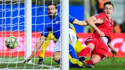 Kemenangan besar pertama Italia ketika ditangani oleh Roberto Mancini yaitu ketika menjamu Liechtenstein. Skuat asuhannya berpesta gol 6-0 ketika pertandingan kualifikasi Grup J Euro 2020 pada 26 Maret 2019. (Foto: AFP/Miguel Medina)
