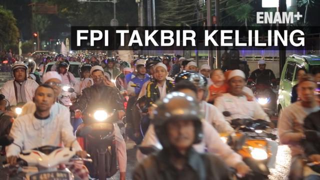 Ribuan massa FPI gelar takbir keliling di Jakarta, dengan dikawal petugas kepolisian