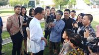 Presiden Jokowi berdialog dengan konten kreator dan Influencer di Istana Bogor. (Liputan6.com/Ady Anugrahadi)