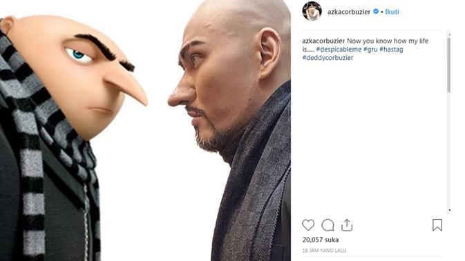 Deddy Corbuzier dan Gru di Despicable Me (Instagram/@azkacorbuzier)