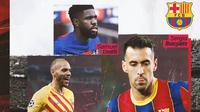 Barcelona - Martin Braithwaite, Samuel Umtiti, Sergio Busquets (Bola.com/Adreanus Titus)