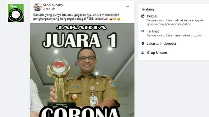 Cek Fakta Liputan6.com menelusuri klaim foto Anies Baswedan mendapat penghargaan PSBB terbanyak