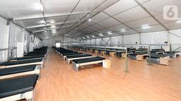 Rumah Oksigen Gotong Royong yang memiliki fasilitas empat ruangan berukuran 20x50 meterbisa menampung kurang lebih 500 pasien dan bisa membantu kebutuhan pasien Covid-19 dari yang tanpa gejala, gejala ringan, hingga gejala sedang. (Liputan6.com/Pool/Biro Sekpres)