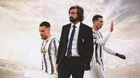 Juventus - Aaron Ramsey, Andrea Pirlo, Federico Bernardeschi (Bola.com/Adreanus Titus)